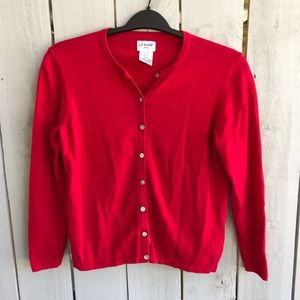 Liz Baker Red Button Down Sweater
